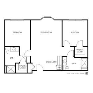 Legacy Assisted Living, Iowa City, IA, 2-Bed / 2 Bath Floor Plan - Star