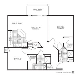 Legacy Independent Living, Iowa City, IA, 2 Bed / 2 Bath Floor Plan - Deleware