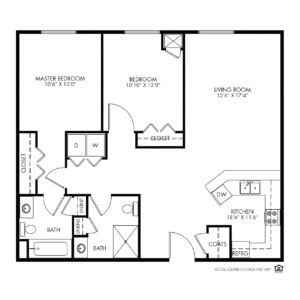 Silvercrest at Garner Independent Living, Davenport, IA, 2 Bedroom Floor Plan - Courtland I
