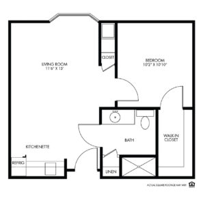 Woodlands Creek Assisted Living, Clive, IA, 1 Bed Room Floor Plan - Willow I