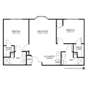 Woodlands Creek Assisted Living, Clive, IA, 2 Bed Room Floor Plan - Aspen I