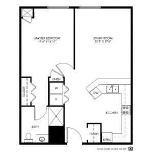 Woodlands Creek Independent Living, Clive, IA, 1 Bed Room Floor Plan - Truman