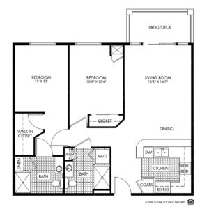 Woodlands Creek Independent Living, Clive, IA, 2 Bed Room Floor Plan - Jefferson