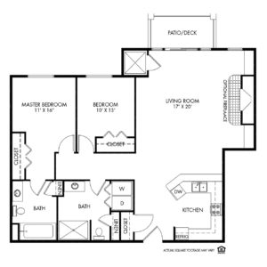 Woodlands Creek Independent Living, Clive, IA, 2 Bed Room Floor Plan - Kennedy