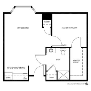 Woodlands Creek Memory Care, Clive, IA, 1 Bed Room Floor Plan - Private Suite