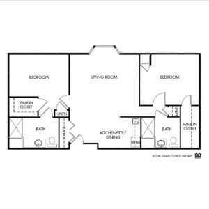 Woodlands Creek Memory Care, Clive, IA, 2 Bed Room Floor Plan - Shared Suite