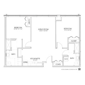 Overlook Village Assisted Living, Moline, IL, 2 Bedroom Floor Plan - Deere