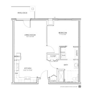 Overlook Village, Moline, IL, 1 Bedroom Floor Plan - Karsten (ADA)