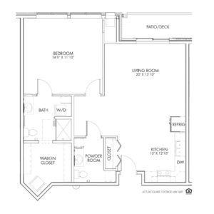 Overlook Village, Moline, IL, 1 Bedroom Floor Plan - Sylvan