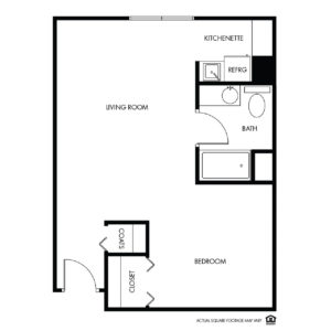 Willow Falls Assisted Living, Crest Hill, IL, 1 Bed Floor Plan - Lilac