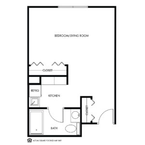 Willow Falls Assisted Living, Crest Hill, IL, 1 Bed Floor Plan - Marigold