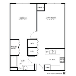 Willow Falls Independent Living, Crest Hill, IL, 1 Bed Room Floor Plan - Foxglove