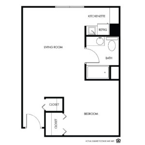 Willow Falls Memory Care, Crest Hill, IL, 1 Bed Floor Plan - Petunia