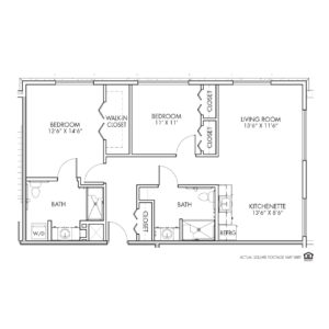 Silvercrest Assisted Living, Lenexa, KS, 2 Bed Room Floor Plan - Midland