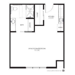 Silvercrest at Deer Creek Assisted Living, Overland Park, KS, Studio Floor Plan - Hummingbird
