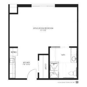 Silvercrest at Deer Creek Assisted Living, Overland Park, KS, Studio Floor Plan - Rosefinch