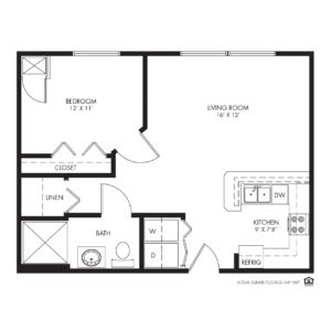 Silvercrest at Deer Creek Independent Living, Overland Park, KS, 1 Bedroom Floor Plan - Redbud