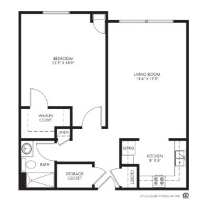 Silvercrest at Deer Creek Independent Living, Overland Park, KS, 1 Bedroom Floor Plan - Walnut