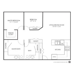Silvercrest at Deer Creek Independent Living, Overland Park, KS, 2 Bedroom Floor Plan - Dogwood II Corner