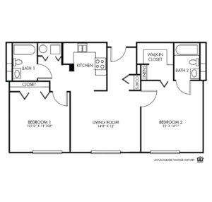 The Montclair Independent Living, Valley, NE, 2 Bed Floor Plan - Deluxe