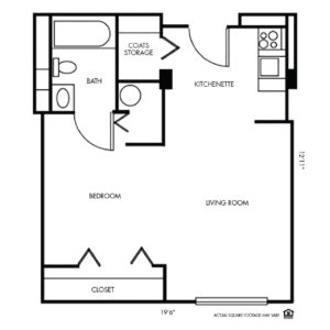 The Montclair Independent Living, Valley, NE, Studio Floor Plan
